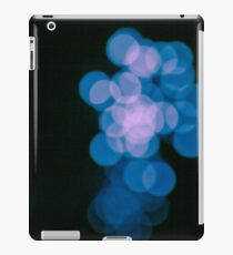 Teal blue bokeh lights, abstract unique pattern, black background iPad Case/Skin