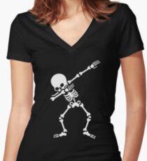 Dabbing skeleton (Dab) Women's Fitted V-Neck T-Shirt