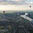 Sky Full of Hot Air Balloons Above Saint-Jean-sur-Richelieu and the Richelieu River by Georgia Mizuleva