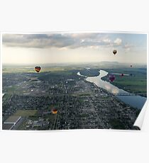 Sky Full of Hot Air Balloons Above Saint-Jean-sur-Richelieu and the Richelieu River Poster