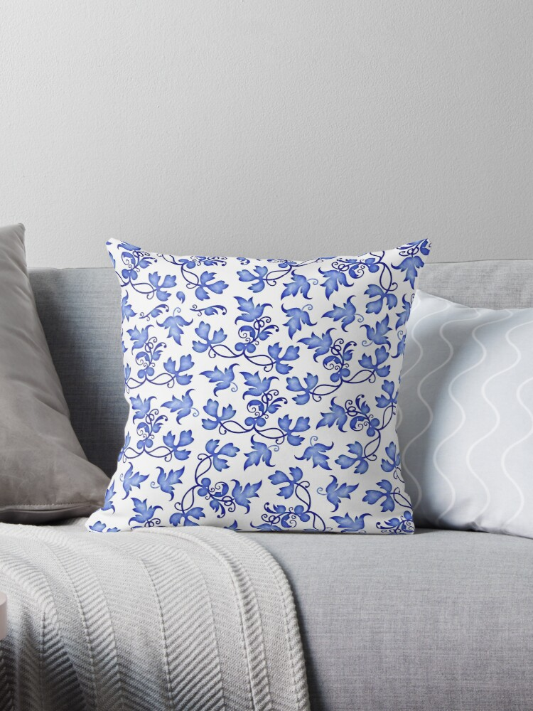 Delft pattern blue white floral design by PrintBerry