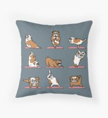 English Bulldog Yoga Throw Pillow