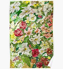 Flowers in Watercolours Poster