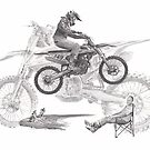 motocross collage drawing by Mike Theuer