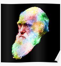 Charles Darwin Colour Splash Poster