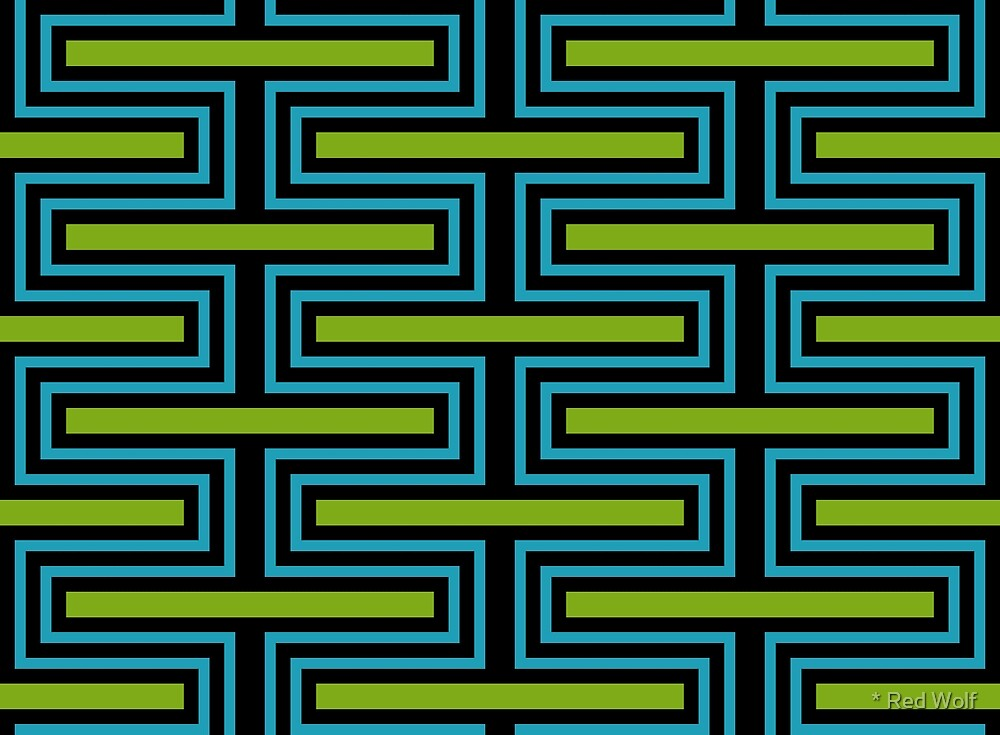 Geometric Pattern: Offset Brick: Blue/Green by * Red Wolf
