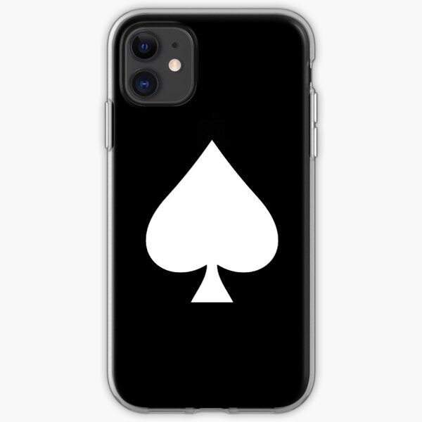 ACE. Ace of Spades, White on Black, Music, Motorbike, Hells Angels, Gang, Cards. iPhone Soft Case