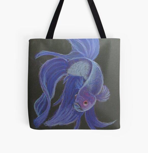 Siamese Fighting Fish Purple All Over Print Tote Bag