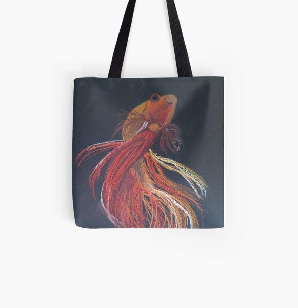 Siamese Fighting Fish Orange. All Over Print Tote Bag