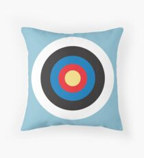 Bulls Eye, Right on Target, Roundel, Archery, Mod, Hit, on Blue Throw Pillow