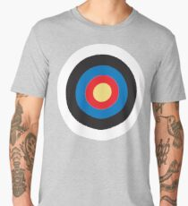 Bulls Eye, Right on Target, Roundel, Archery, Mod, Hit, on Blue Men's Premium T-Shirt