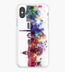Washington DC skyline in watercolor on white background  iPhone Case/Skin