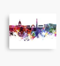 Washington DC skyline in watercolor on white background  Metal Print