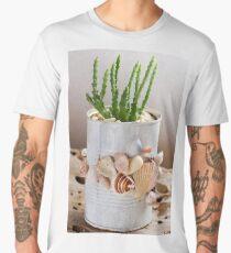 Cactus with seashells pot Men's Premium T-Shirt