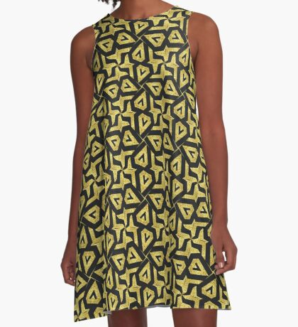 Edgy Gold Black Pattern A-Line Dress