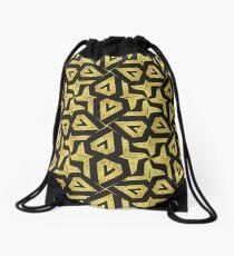 Edgy Gold Black Pattern Drawstring Bag