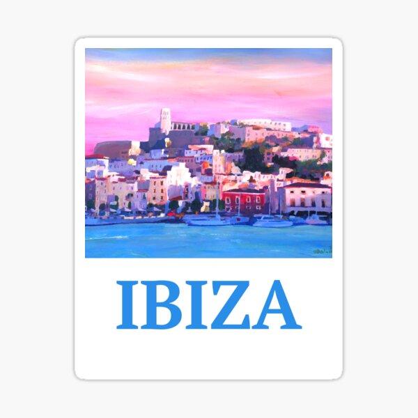 Cartel retro Ibiza ciudad vieja y puerto perla del Mediterráneo Pegatina