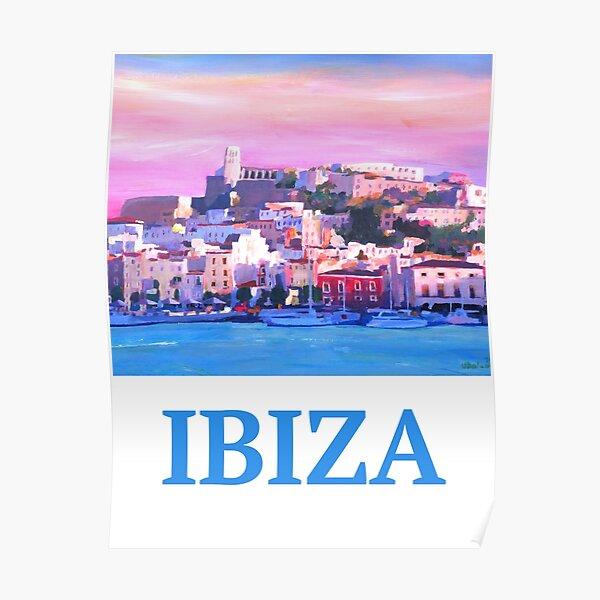 Retro Poster Ibiza  Altstadt und Hafen Perle des Mittelmeers Poster
