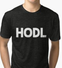 HODL Crypto Cryptocurrency Gift Idea White Text Tri-blend T-Shirt