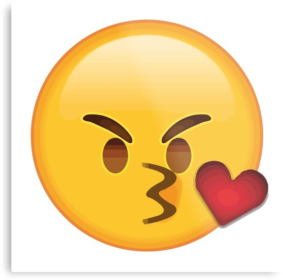 funny angry kiss emoji sticker for cute couple metal prints by