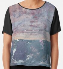 Colorful Texture Painting. Chiffon Top