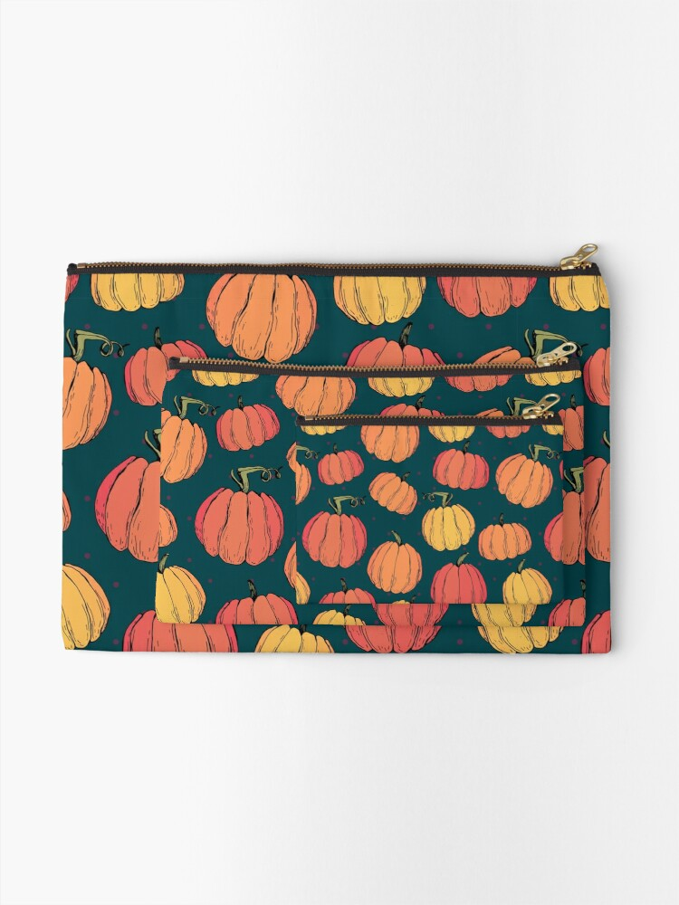 Alternate view of Rustic fall pumpkin pattern Zipper Pouch