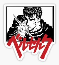 Guts with red japanese berserk logo Sticker