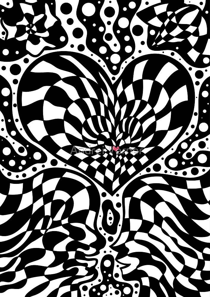Psychedelic optical art Valentine's Day design by Andrei Verner