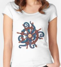 Сaptain Octopus. Vintage print Women's Fitted Scoop T-Shirt