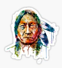 Sitting Bull watercolor painting Sticker