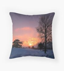 Sunset in Snowlandscape Throw Pillow