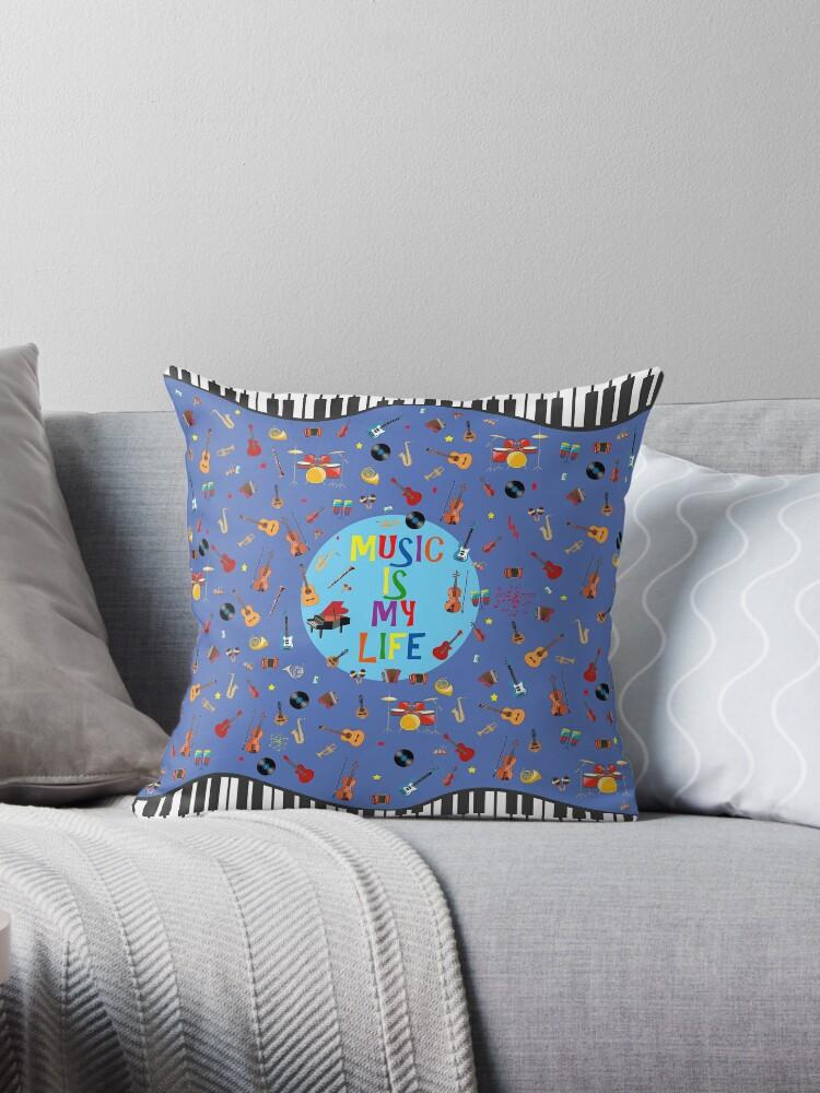 Music is my life en azul by redumbrellashop