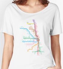 Chicago Trains Map Women's Relaxed Fit T-Shirt