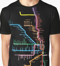 Chicago Trains Map Graphic T-Shirt