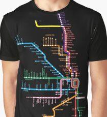 Camiseta gráfica Mapa de Chicago Trains