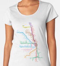 Chicago Züge Karte Frauen Premium T-Shirts