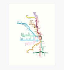 Chicago Trains Map Art Print