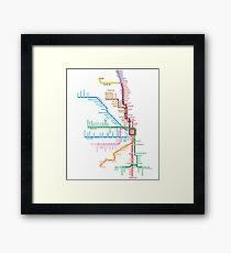 Chicago Trains Map Framed Print