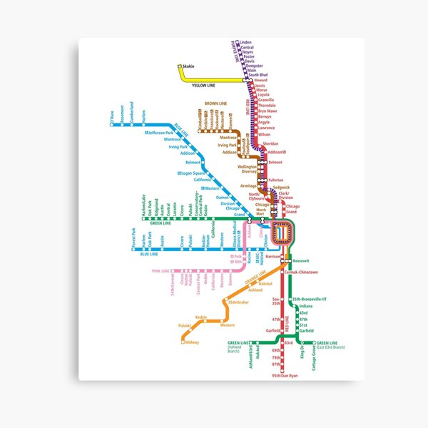 Chicago Trains Map Canvas Print