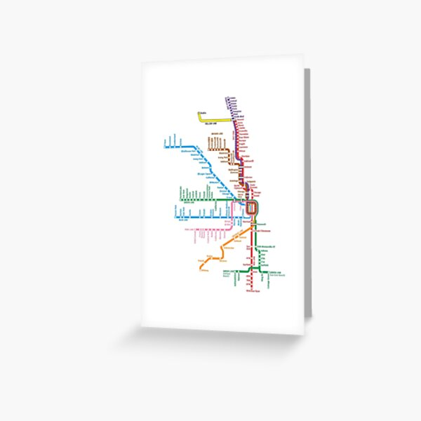 Chicago Trains Map Greeting Card