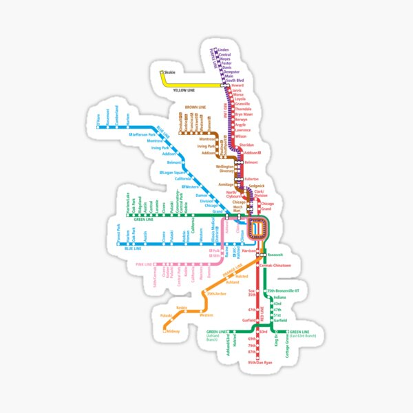 Chicago Trains Map Sticker