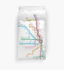 Chicago Trains Map Duvet Cover