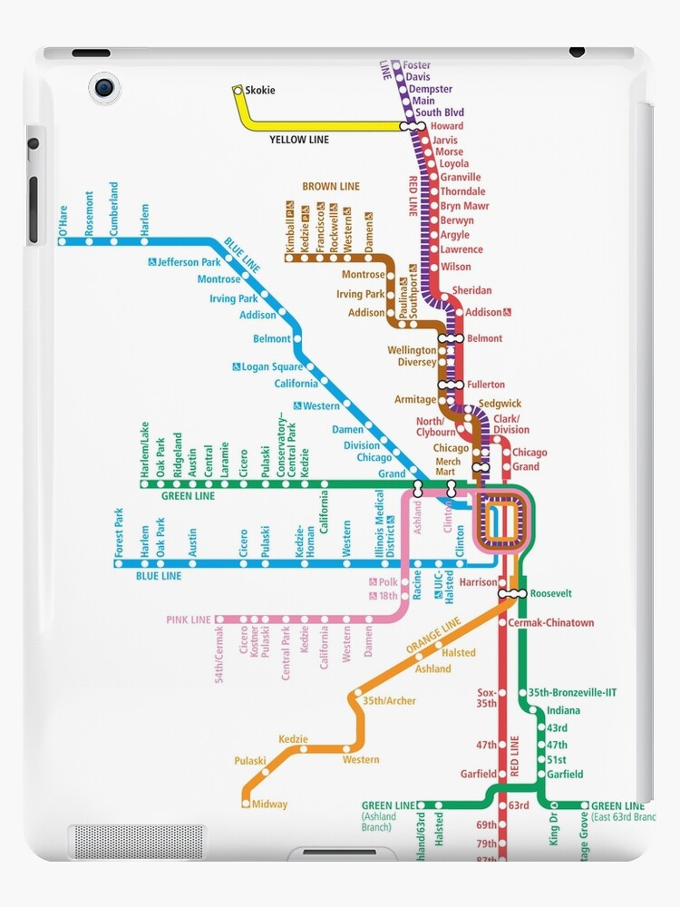 'Chicago Trains Map' iPad Case/Skin by Rich Anderson on chicago o'hare parking map, chicago subway map with streets, chicago south shore train map, chicago midway train map, chicago orange line train map, chicago blue line train map, chicago loop train map, o'hare arrivals map, chicago o'hare road map, columbus ohio rail map, o'hare airport map, hare chicago airport terminal map, chicago o'hare airline map, elevated train chicago map, chicago el train map, chicago l stations map, chicago airport train map, cta map,