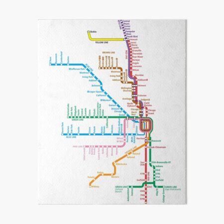 Chicago Trains Map Art Board Print