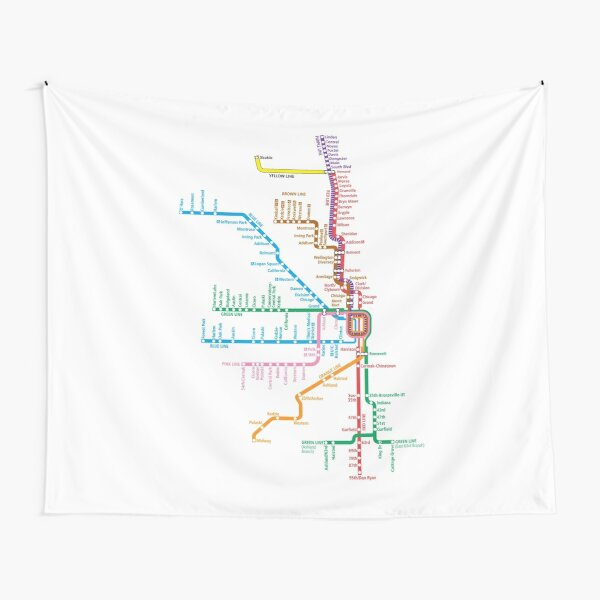 Chicago Trains Map Tapestry