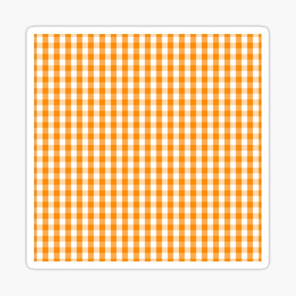 Pumpkin Orange and White Gingham Check Sticker