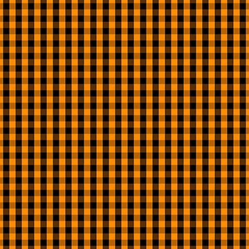 Large Pumpkin Orange and Black Gingham Check Plaid by Creepyhollow