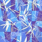 Bamboo in Blue Geometric Pattern by oursunnycdays
