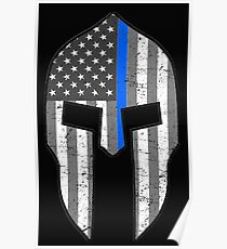 American Spartan Thin Blue Line  Poster
