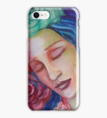 dream, girl, closed eyes, flowers, mixed media, water, roses iPhone Case/Skin